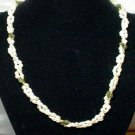 White Freshwater Semi Baroque Pearl Green Jade Bead Double Strand Necklace, Wedding, 1990s