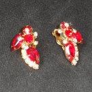 Sale, Red Crystal Aurora Borealis Rhinestone Clip Earrings, Mid Century, 1950s,  Unused Earrings
