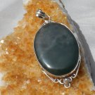 Green Moss Agate Sterling Silver Pendant, Handcrafted, New wo tag