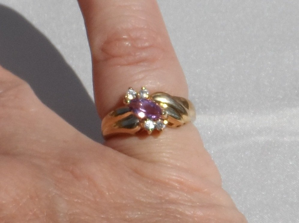 Sale, Marquis Cut Amethyst Offset Ring, Size 6.5, Vintage 1980s