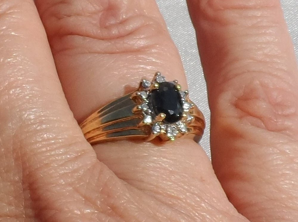 Sale, Sapphire and Diamond Gold over Sterling Silver Halo Ring, Size 7, New without tag