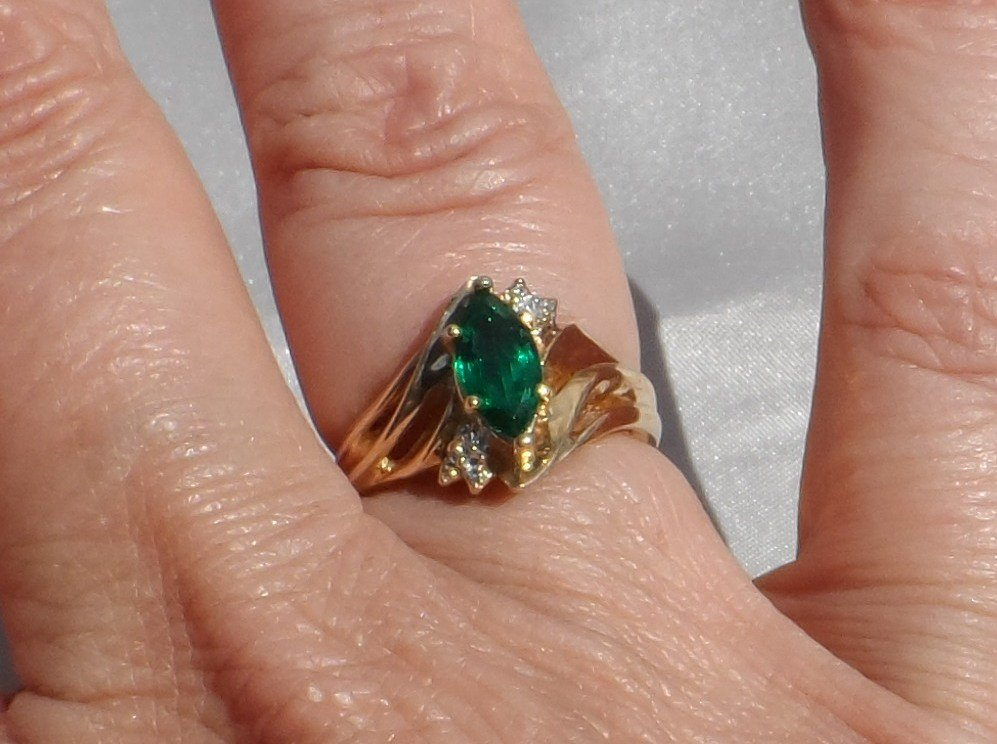 10K Gold Lab Created Emerald and Diamond Ring, Size 7, Vintage 1990s