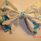 BowTie Blue/White with Pear Hair Clip (HA50614)