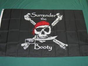 Surrender the Booty Pirate Flag 3x5 feet Jolly roger Skull Cross Bones dagger