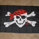 Pirate Flag 3x5 feet red bandana earring jolly roger