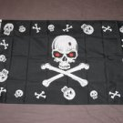 Halloween Pirate Flag 3x5 feet Skull banner jolly roger red eyes skeleton new