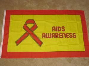 AIDS Awareness Flag 3x5 feet Red Ribbon Banner new hiv