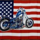 American Flag with a Motorcycle 3x5 feet new US biker banner