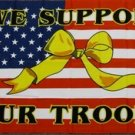 We Support Our Troops Flag 3x5 feet American Yellow Ribbon USMC Army Navy Marine