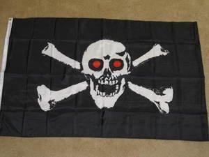 Red Eye Pirate Flag 3x5 feet Jolly Roger Skull & Cross Bones banner new