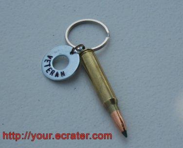"Bullet Key Chain .223 Cal Ballistic Tip, BONUS, ""VETERAN"" Engraved Charm"