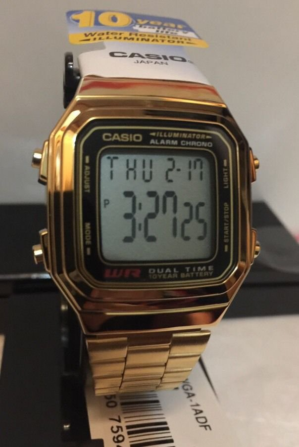 casio gold tone retro vintage classic alarm digital