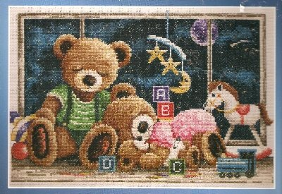 **Goodnight Teddy Bears Cross Stitch KIT Janlynn 2003