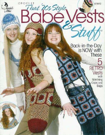**Annie's Attic CROCHET VESTS *5* 70's Style CAPS Bags