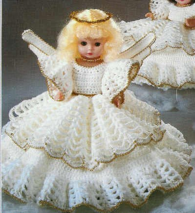 "Christmas Crochet  - Christmas ANGEL Dress for 10 1/2"" Pillow Doll Pattern"