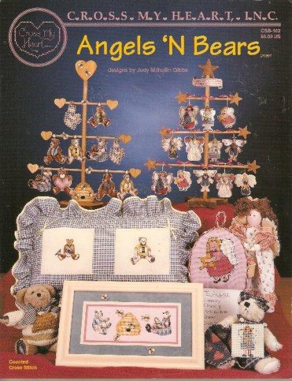 **15 ANGELS & BEARS Cross Stitch Patterns 1997 Cross My Heart *