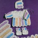 **Crochet BABY Set - Dress - Hooded Cape - Cap - Booties PLUS