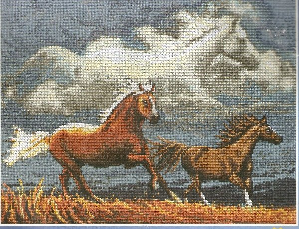 ** Cross Stitch KIT Spirit Of The Horse Horse In Clouds