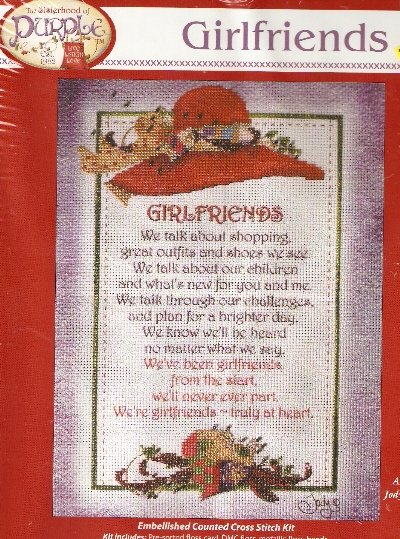 **Embellished Counted Cross Stitch KIT RED HAT GIRLFRIENDS