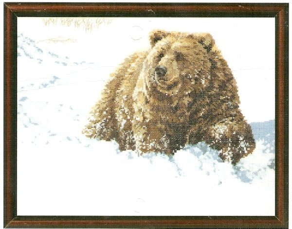 **Janlynn's Just-A-Chart HEAVY GOING GRIZZLY BEAR Cross Stitch Pattern