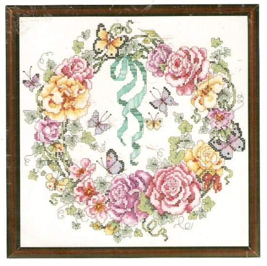 **Just-A-Chart Cross Stitch ROSE WREATH  Janlynn Barbara Baatz