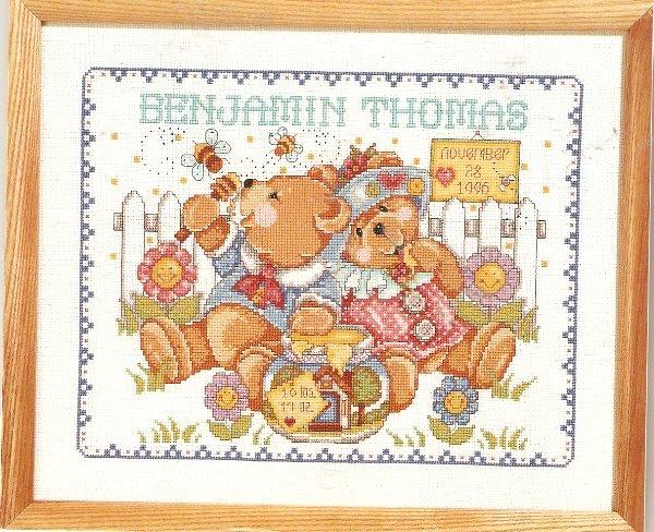 **Just-A-Chart Cross Stitch HONEY BEARS BIRTH ANNOUNCEMENT  Janlynn 2000