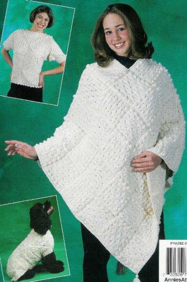 **Crochet Annie's Attic ARAN Dog Sweater PONCHO Shawl *5* Patterns