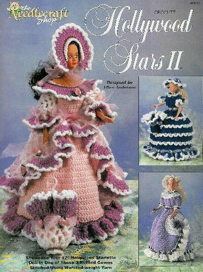 """**Crochet * 3 * Frilly Dresses for 17"""" Hollywood Starlett Doll"""