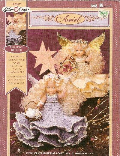 "**Crochet * 2 * Angel Air Freshener Doll Ptns ARIEL for 5.75"" Doll"