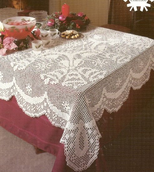 """**White Christmas Collection Crochet Christmas Tablecloth 54"""" x 84"""" Bells & Bows"""