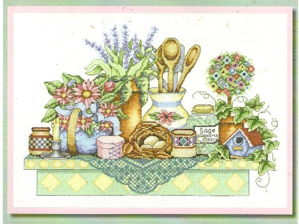 **Cross Stitch BOBBIE G. DESIGNS   A DELIGHTFUL SHELF