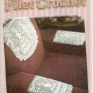 **Filet Crochet ROSE PANEL Tablecloth CRINOLINE Chair Set +