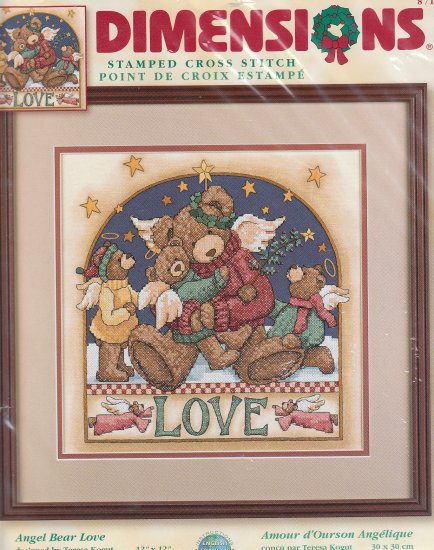 "**Stamped Christmas Cross Stitch Kit - ANGEL BEAR LOVE - 12"" X 12"""