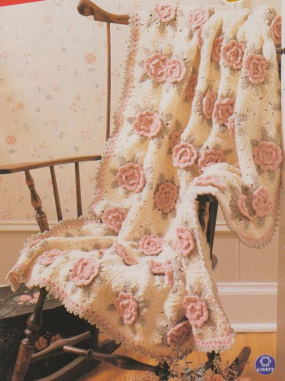 Crochet Victorian ROSES Afghan Pattern PLUS 5 More