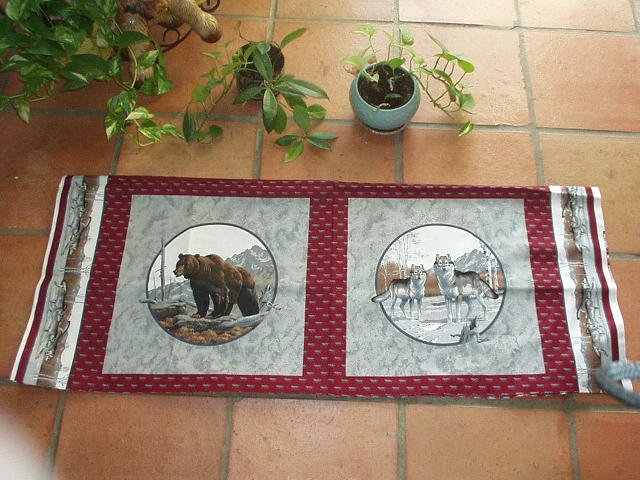 """BROWN BEAR - 2 WOLVES Fabric for 18"""" Pillow Front and Back"""