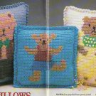Crochet Afghan 3 BEAR Pillows Baby Long Johns HAT and Muff Set