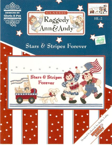 Raggedy Ann and Andy STARS AND STRIPES FOREVER Cross Stitch Pattern