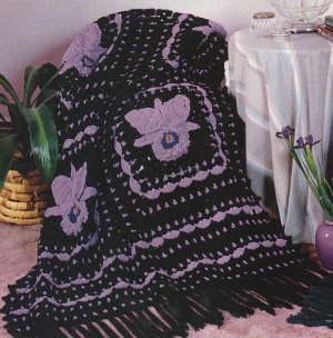 *Crochet Fantasy Orchid Afghan+ 4 More Toy BEAR Rose Placemat Patterns