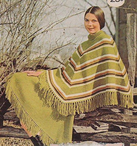 Knit Stylish Poncho and Skirt Pattern