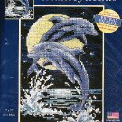 *Cross Stitch KIT Moonlit Play Dolphins at Night by Moonlight
