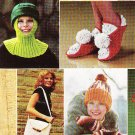 *VINTAGE Knit/Crochet Booklet Caps Mittens Slippers Potholders PLUS