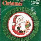 "*Counted Cross Stitch Kit - Santa and Teddy - 5"" Round"