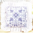 *stamped cross stitch Lavender and Lace Pillow Delft Blue