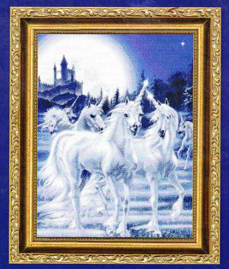 *Unicorn CROSS STITCH Kustom Krafts GATHERING UNICORNS 2001