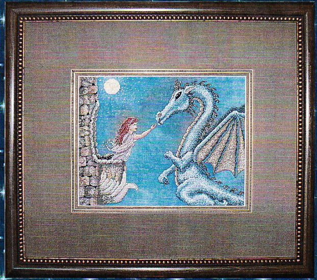 *Dragon CROSS STITCH Kustom Krafts MOONLIGHT VISIT 2004