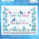 * Flower Cross Stitch Kit BLESS THE SEEDS NOT THE WEEDS