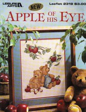 * Teddy Bear Cross Stitch APPLE OF HIS EYE