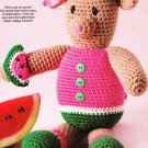 "* Crochet World - 3 Poncho Patts - Watermelon Bear 13.5"" - Baby Girl Set - Welcome Sign"