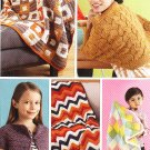 * 2 crochet Afghans - 1 knitted Shrug - Cro BEBOP Cardi - More