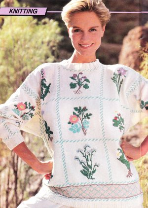 Duplicate Stitch Patterns For Knitting : *Beautiful Sweater Pattern to Knit or Duplicate Stitch - Plus Alphabet Embroi...